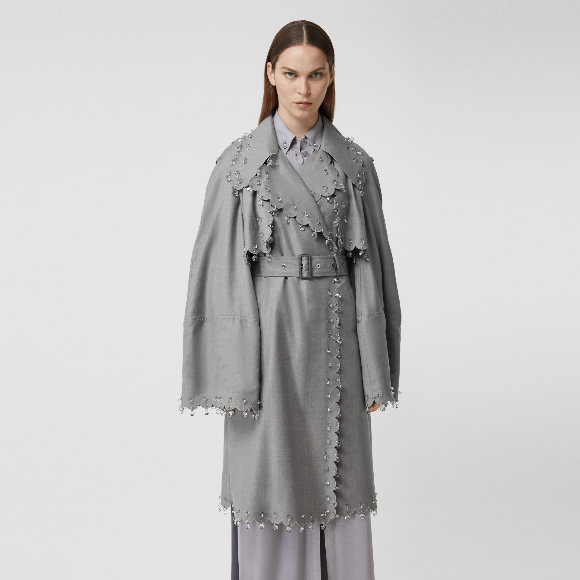 Crystal Ring-pierced Wool Reconstructed Trench Coat in Cloud Grey - Women | Burberry - gallery image 6