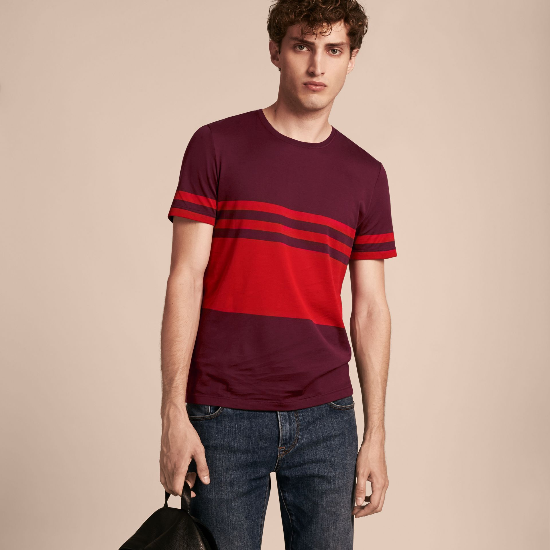 Maroon purple Stripe Print Cotton T-shirt Maroon Purple - gallery image 6