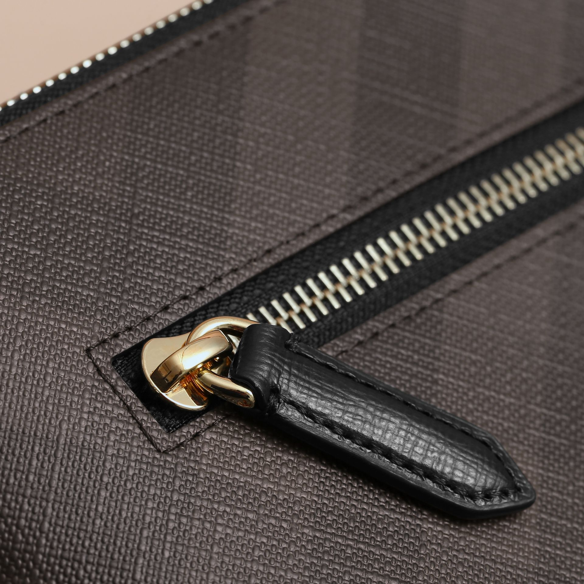 Large London Check Zip Pouch in Chocolate/black - Men | Burberry - gallery image 2