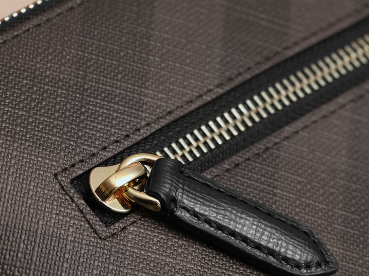Large London Check Zip Pouch in Chocolate/black - Men | Burberry - cell image 1