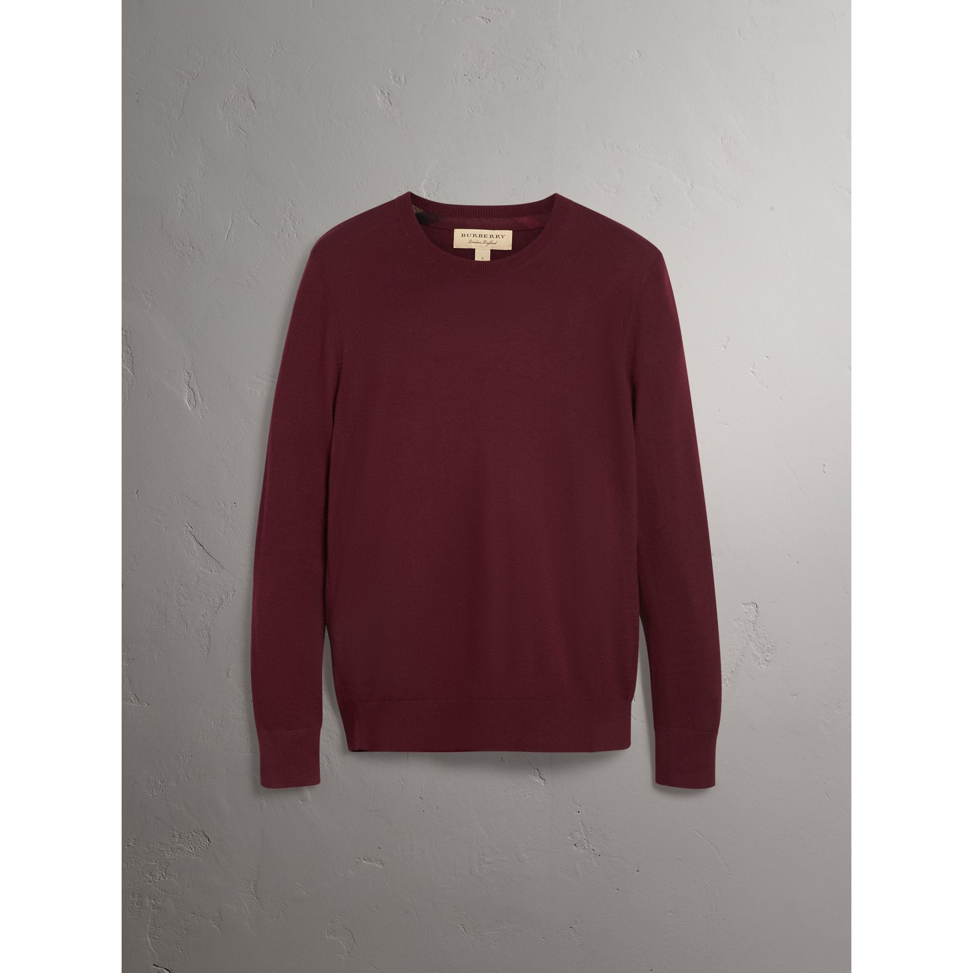 Check Jacquard Detail Cashmere Sweater in Deep Claret - Men | Burberry United Kingdom - gallery image 3