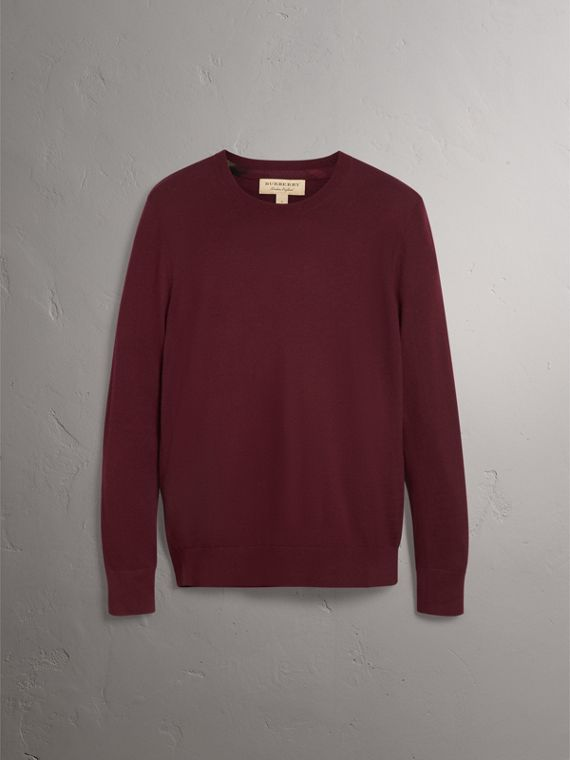Check Jacquard Detail Cashmere Sweater in Deep Claret - Men | Burberry Singapore - cell image 3