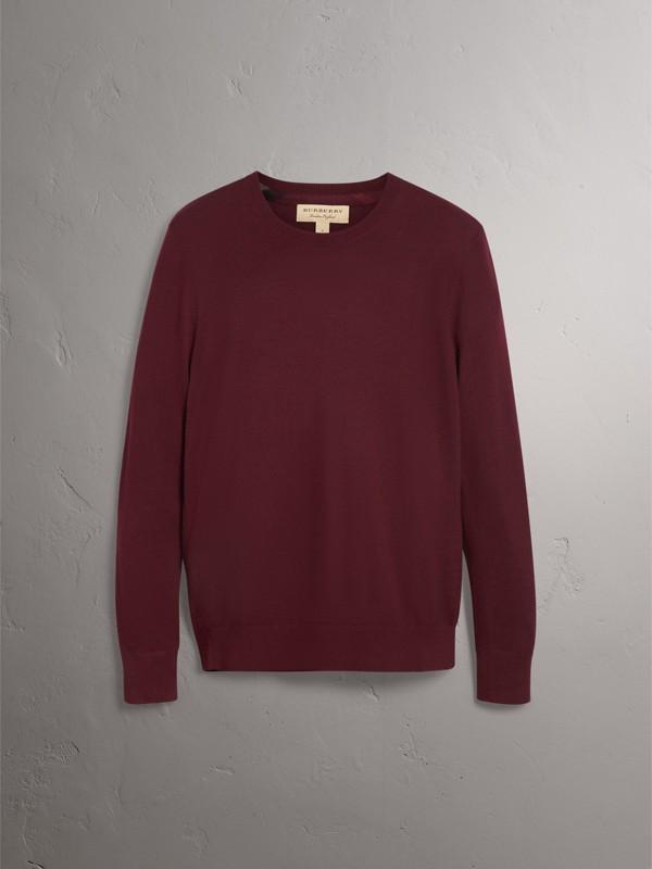 Suéter de cashmere com detalhe xadrez em jacquard (Claret Escuro) - Homens | Burberry - cell image 3