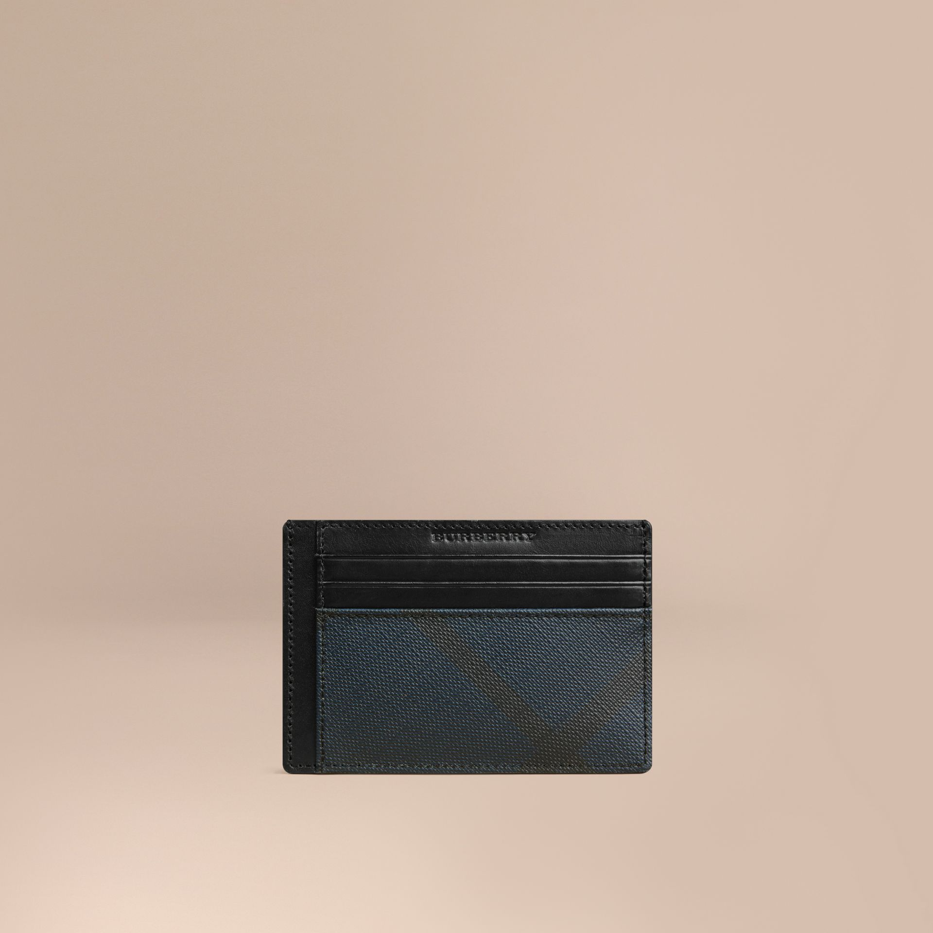 London Check Card Case in Navy/black - gallery image 1
