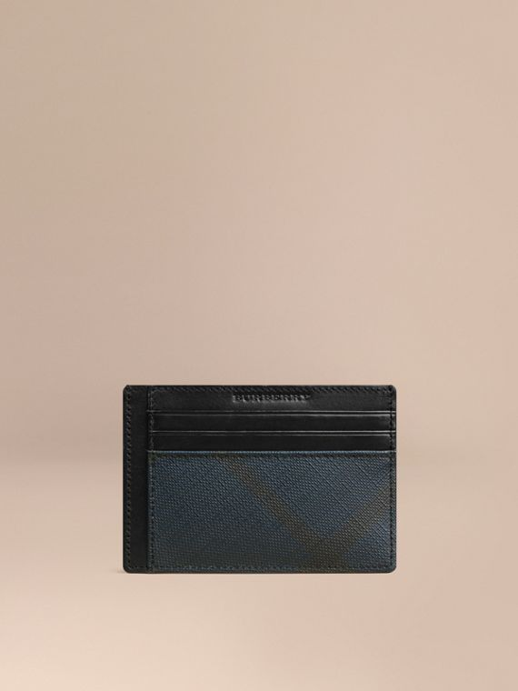 London Check Card Case Navy/black