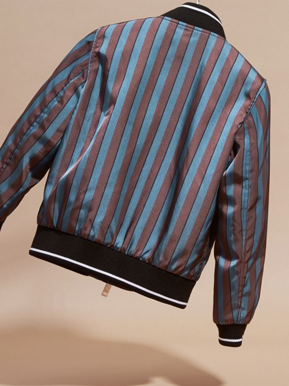 Stripe Print Technical Bomber Jacket - cell image 3