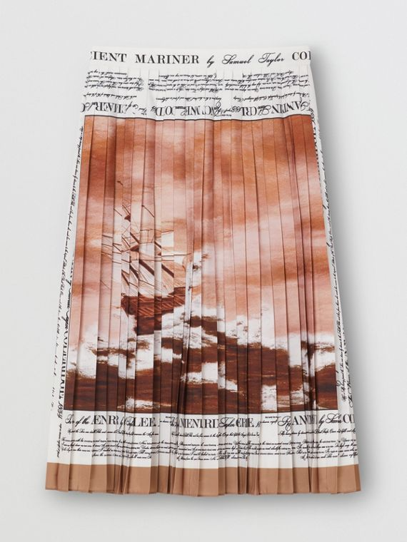 Mariner Print Pleated Cady Skirt in Bronze