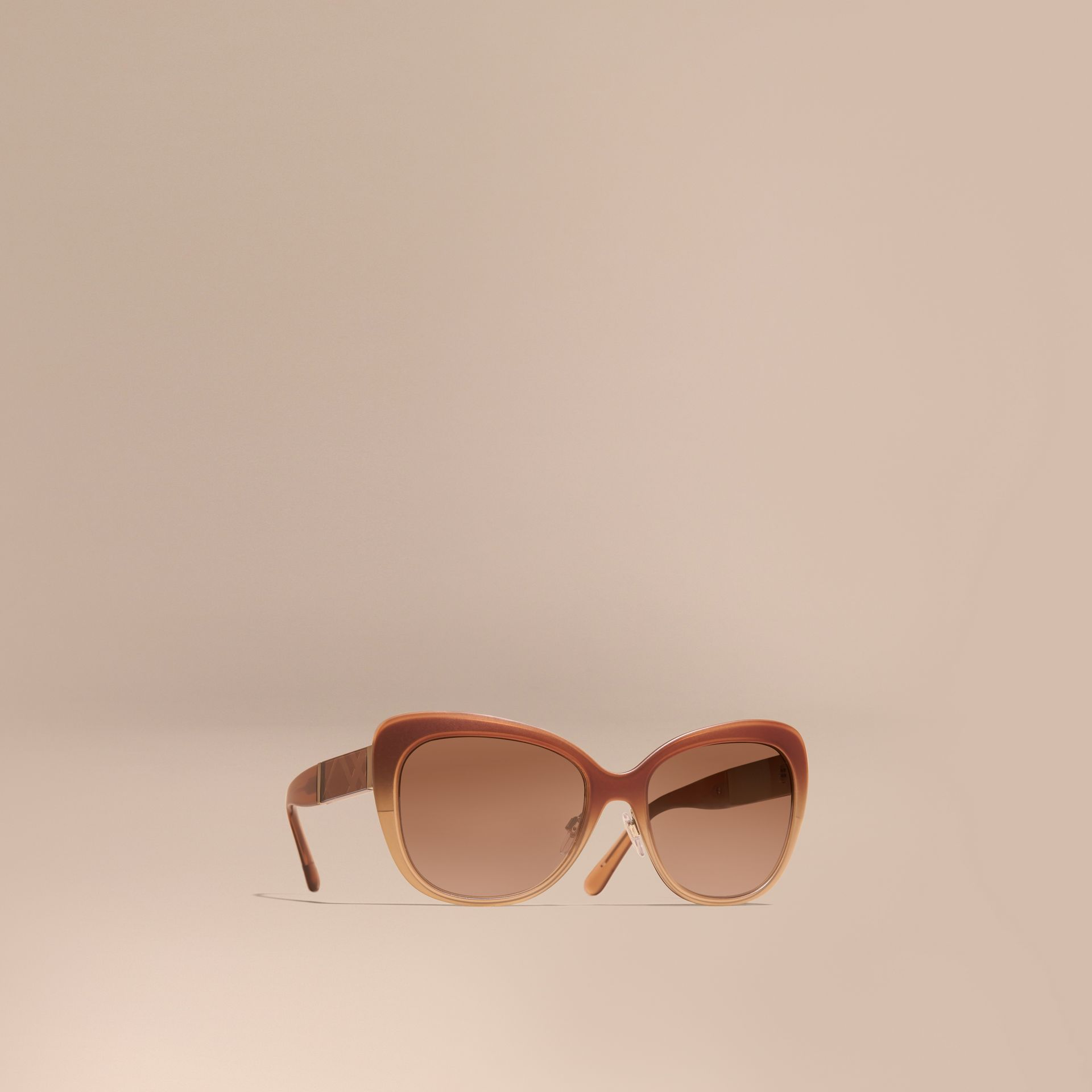 Check Detail Square Cat-eye Sunglasses Carnation Melange - gallery image 1