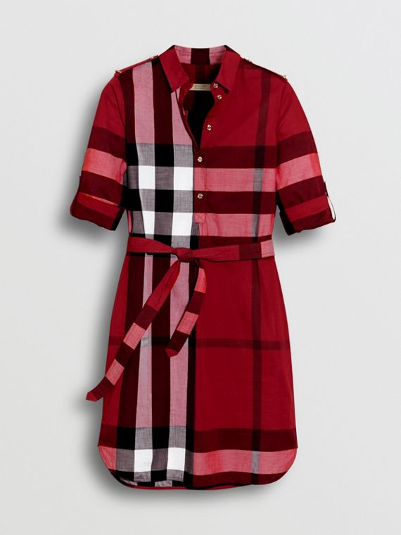 Check Cotton Tie-waist Shirt Dress in Parade Red