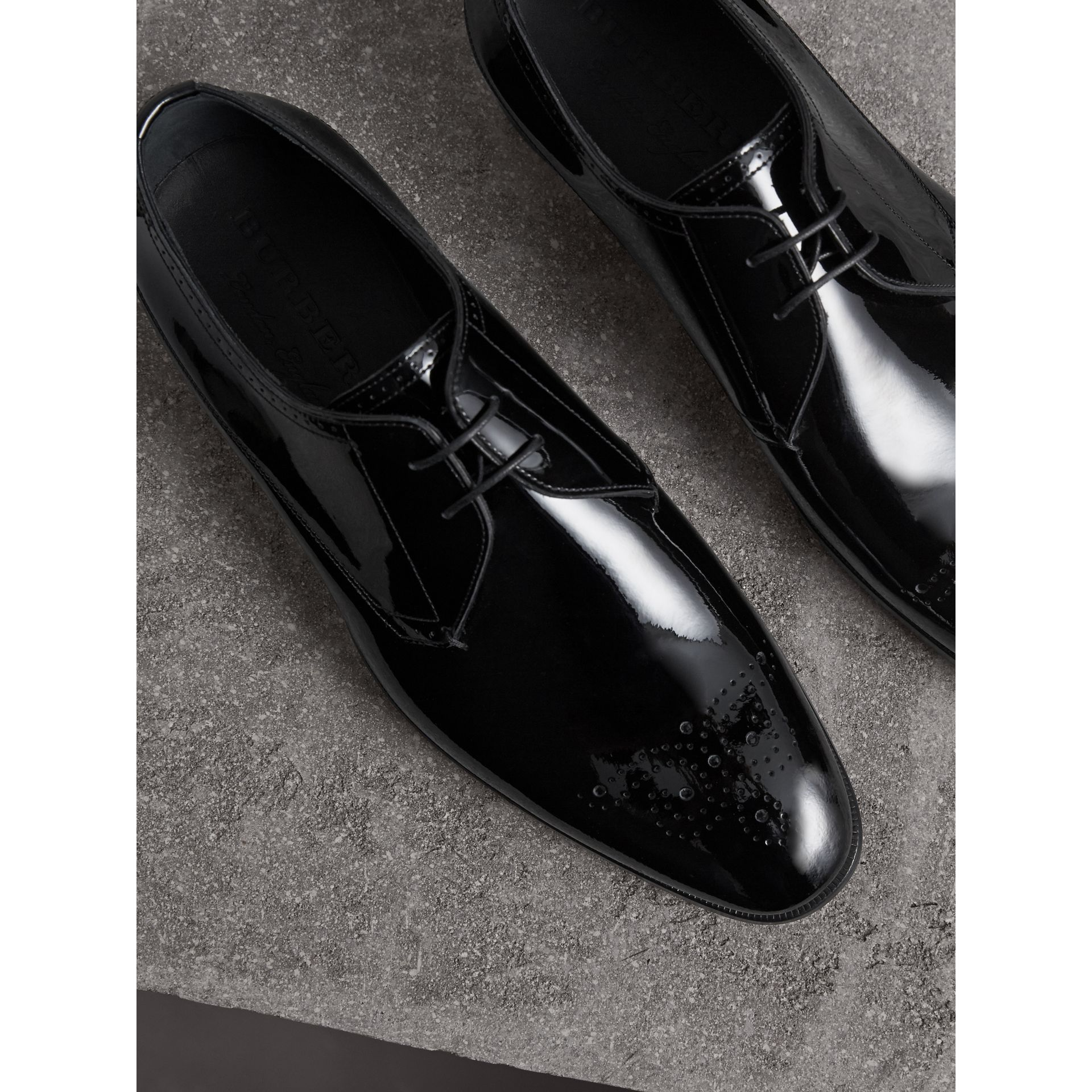 Broguing Detail Polished Leather Derby Shoes in Black - Men | Burberry United Kingdom - gallery image 4
