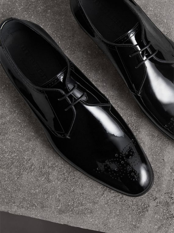 Broguing Detail Polished Leather Derby Shoes - Men | Burberry Australia - cell image 3