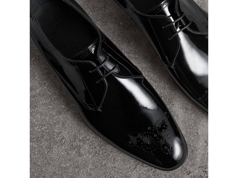Broguing Detail Polished Leather Derby Shoes in Black - Men | Burberry Australia - cell image 4