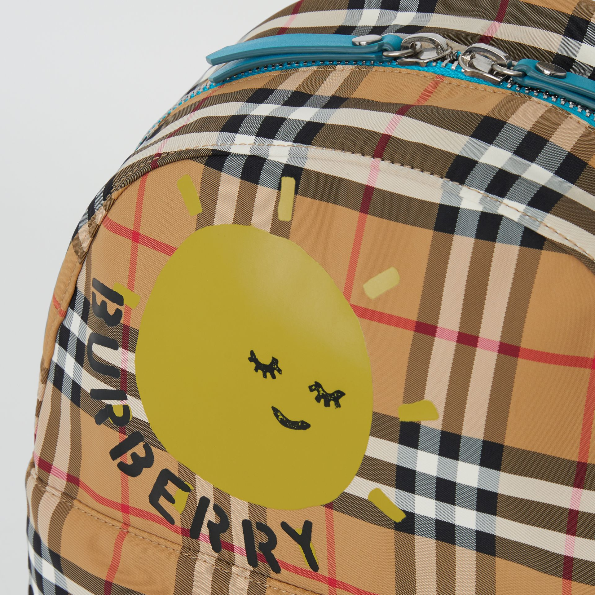 Sun Print Vintage Check Nylon Backpack in Antique Yellow - Children | Burberry Australia - gallery image 1