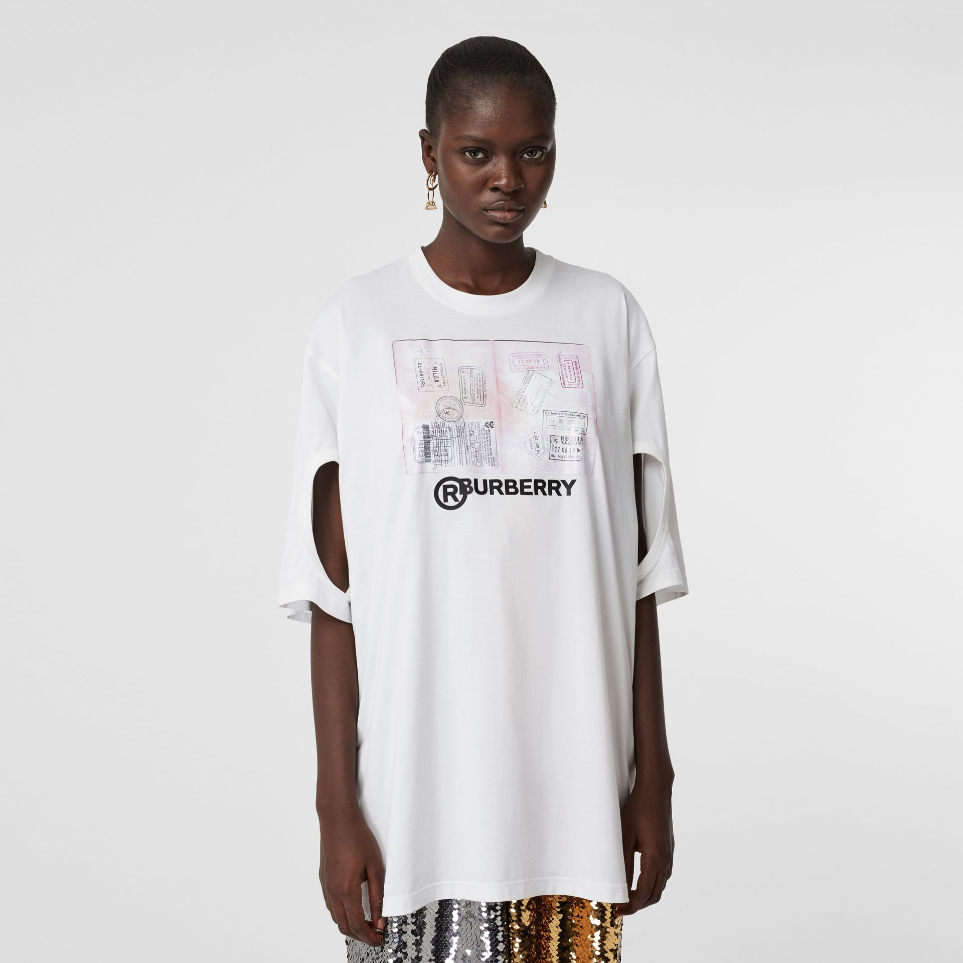 Cut-out Detail Montage Print Cotton Oversized T-shirt in Optic White - Women | Burberry United States - gallery image 0