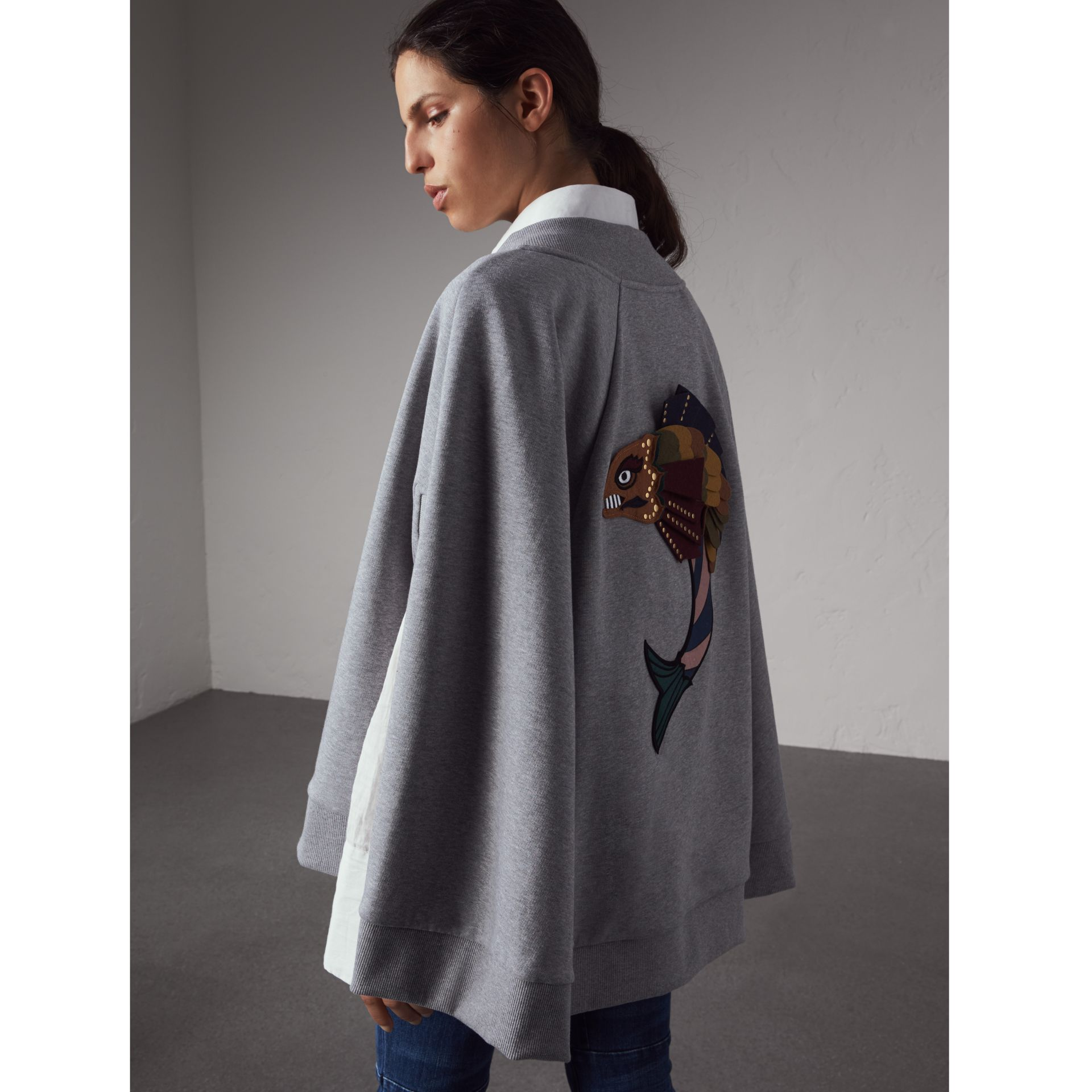 Beasts Appliqué Sweatshirt Cape in Pale Grey Melange - Women | Burberry - gallery image 1