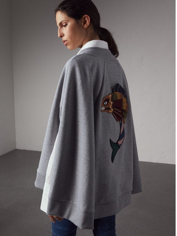 Beasts Appliqué Sweatshirt Cape in Pale Grey Melange