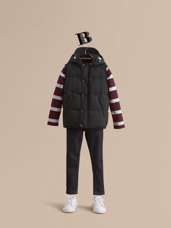 Down-filled Hooded Gilet in Black - Boy | Burberry