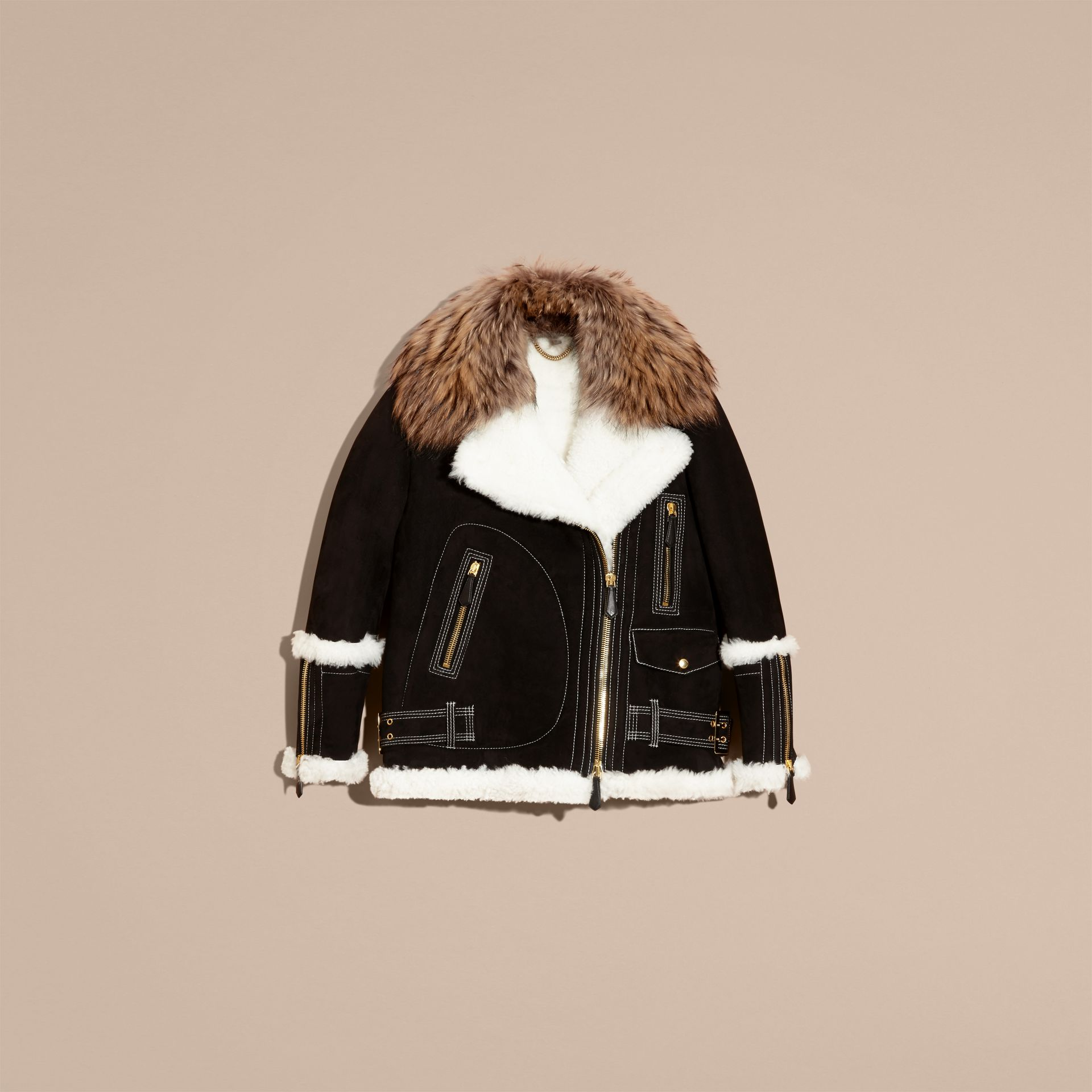 Black Fur-trim Suede and Shearling Aviator Jacket - gallery image 4