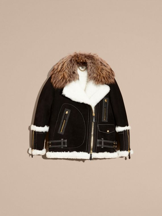 Black Fur-trim Suede and Shearling Aviator Jacket - cell image 3