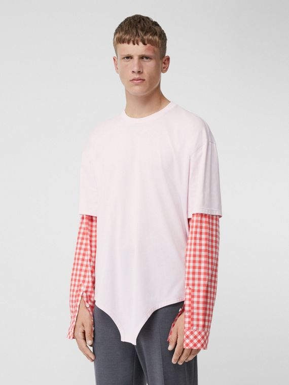 Gingham Sleeve Cut-out Hem Cotton Oversized T-shirt in Pale Pink
