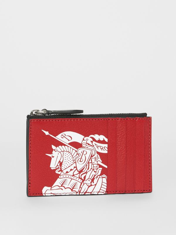 Logo Print Leather Zip Card Case in Rust Red/black - Men | Burberry - cell image 3