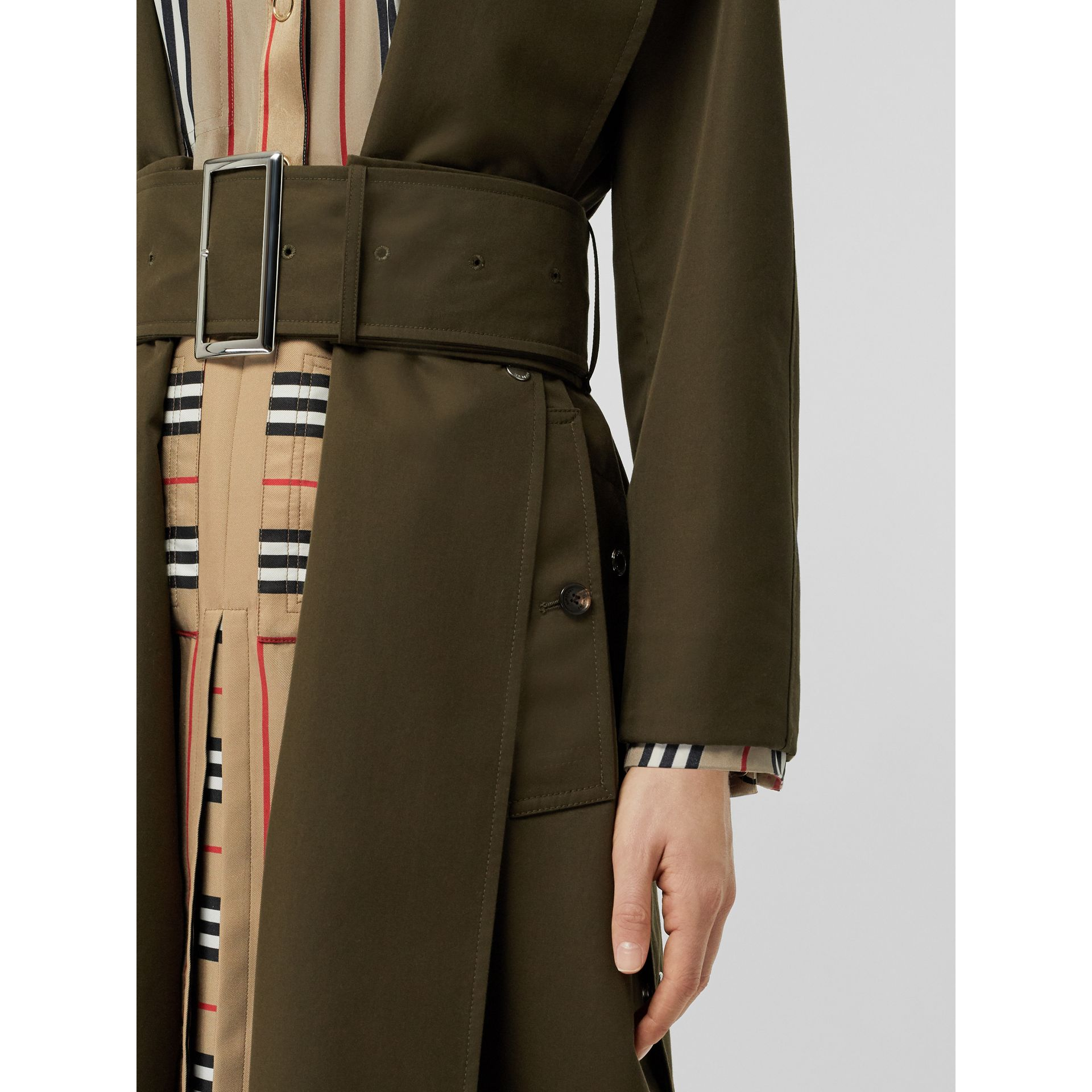 Side-slit Cotton Gabardine Belted Coat in Dark Military Khaki - Women | Burberry - gallery image 1