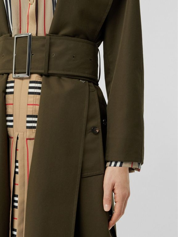 Side-slit Cotton Gabardine Belted Coat in Dark Military Khaki - Women | Burberry - cell image 1