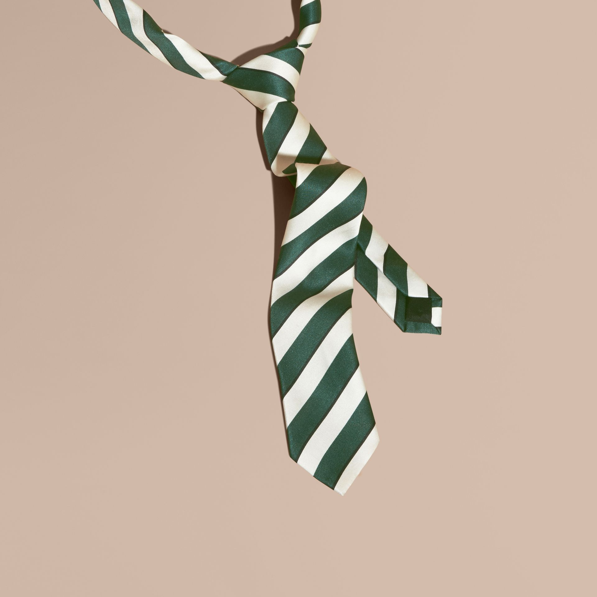 Forest green Slim Cut Striped Silk Cotton Tie Forest Green - gallery image 1