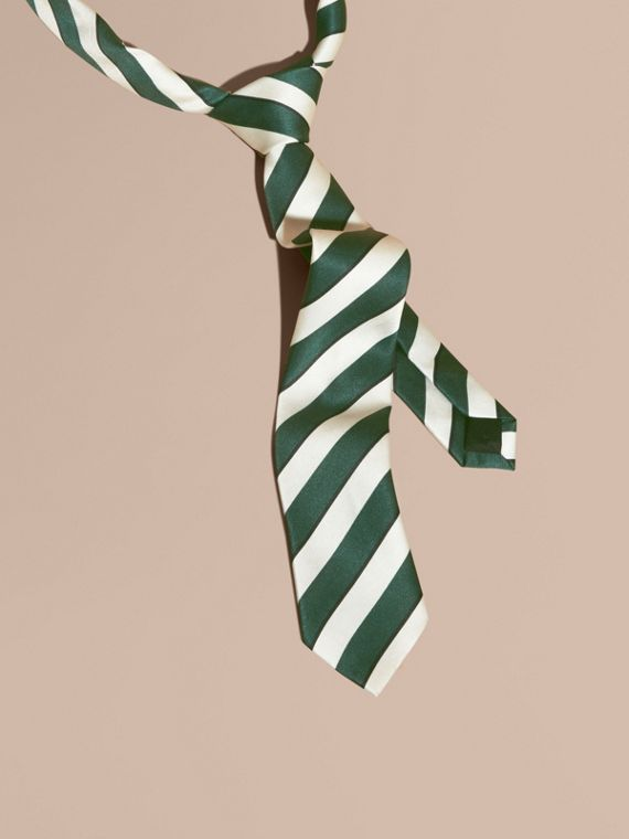 Slim Cut Striped Silk Cotton Tie Forest Green