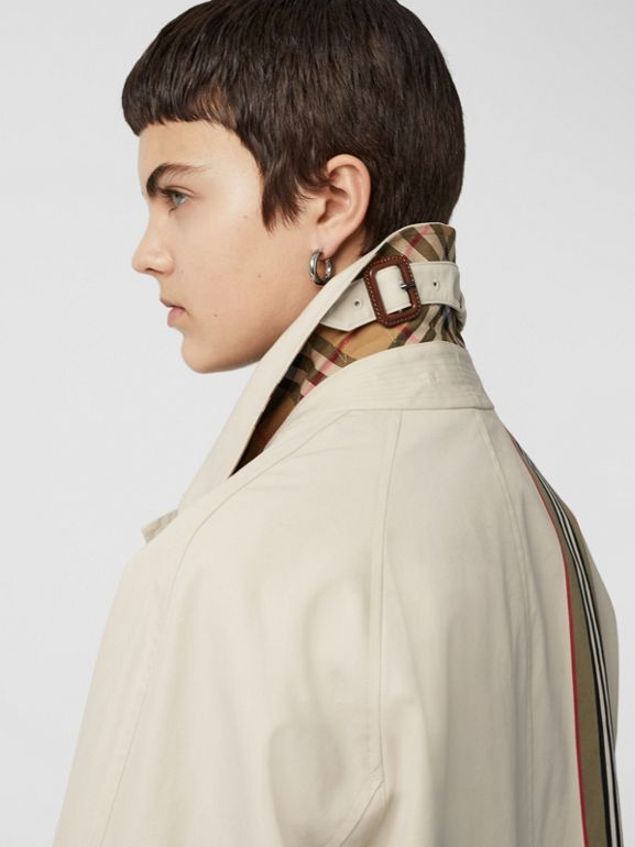 Striped Ribbon Cotton Gabardine Car Coat in Stone - Women | Burberry - cell image 1