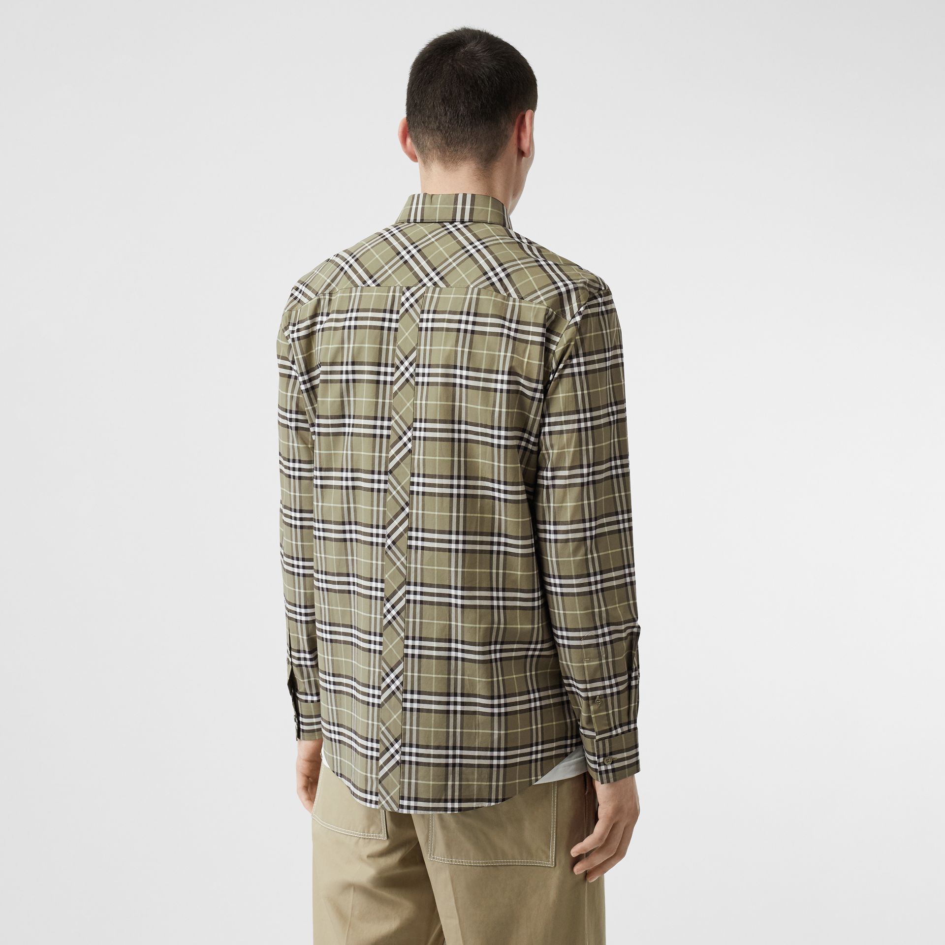 Small Scale Check Stretch Cotton Shirt in Chalk Green - Men | Burberry - gallery image 2