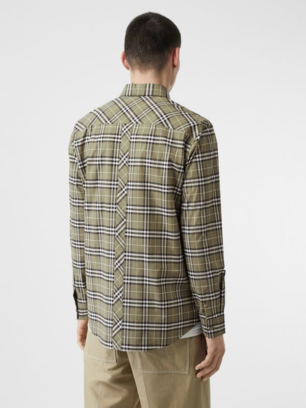Small Scale Check Stretch Cotton Shirt in Chalk Green - Men | Burberry - cell image 2