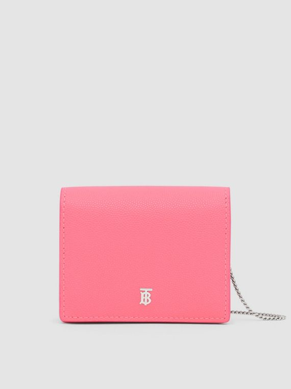 Grainy Leather Card Case with Detachable Strap in Candy Floss/palladio