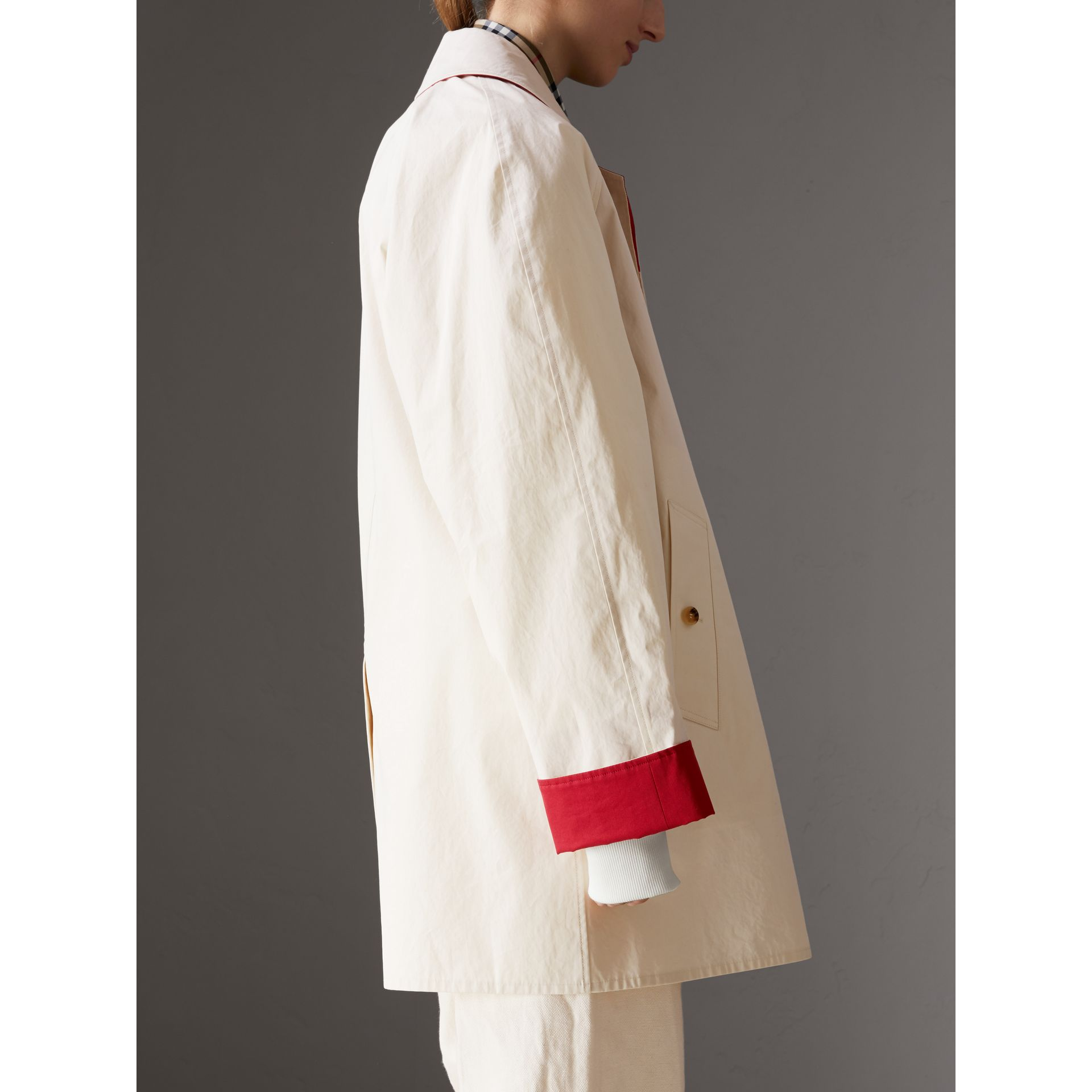 Reissued Waxed Cotton Gabardine Car Coat in Pale Stone - Women | Burberry Australia - gallery image 2