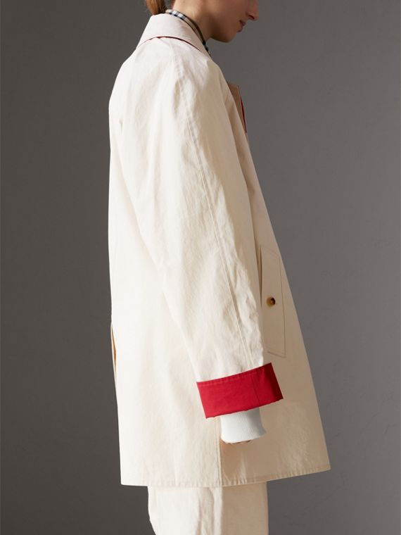 Reissued Waxed Cotton Gabardine Car Coat in Pale Stone - Women | Burberry - cell image 2