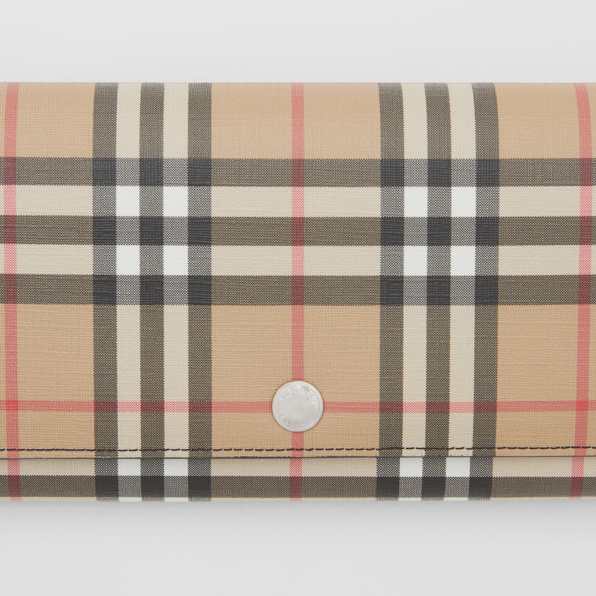 Vintage Check E-canvas Wallet with Detachable Strap in Black - Women | Burberry - gallery image 1