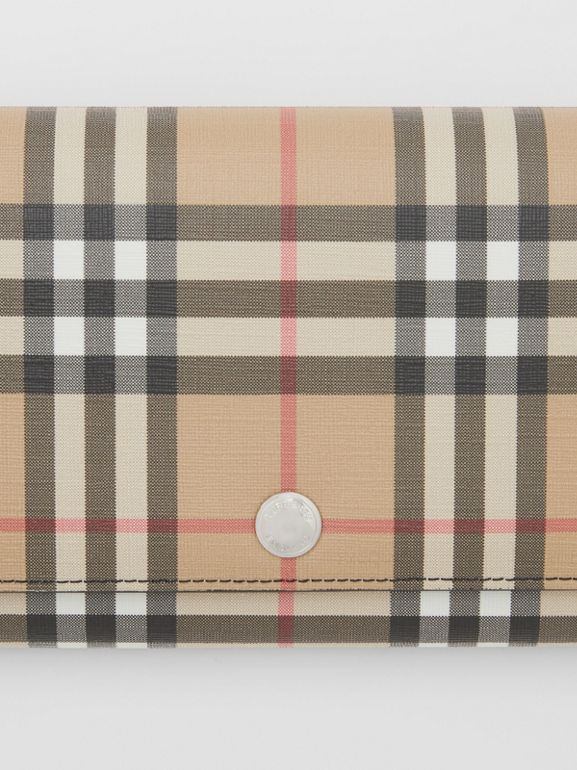 Vintage Check E-canvas Wallet with Detachable Strap in Black - Women | Burberry - cell image 1
