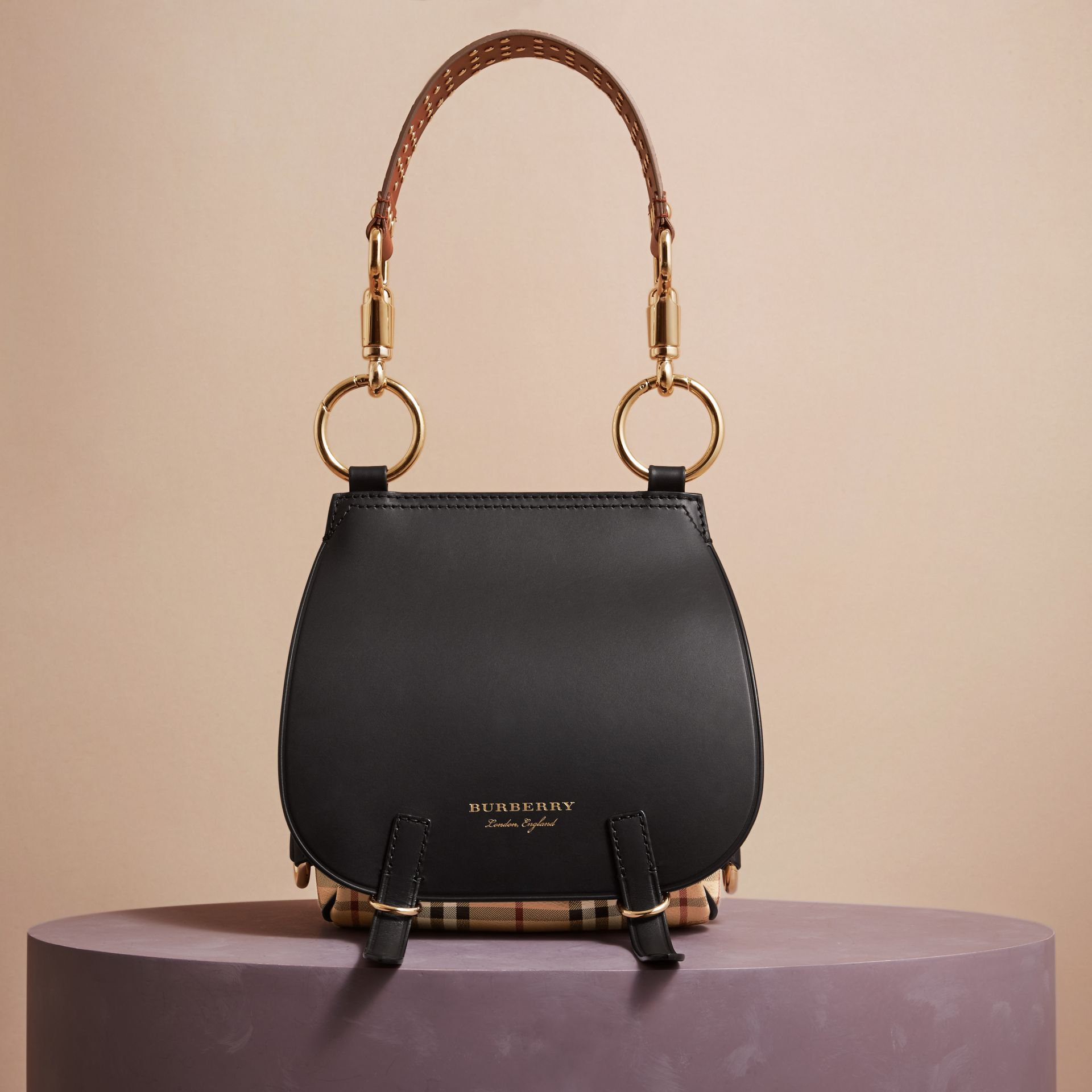 Nero Borsa The Bridle in pelle, motivo Haymarket check e alligatore - immagine della galleria 8