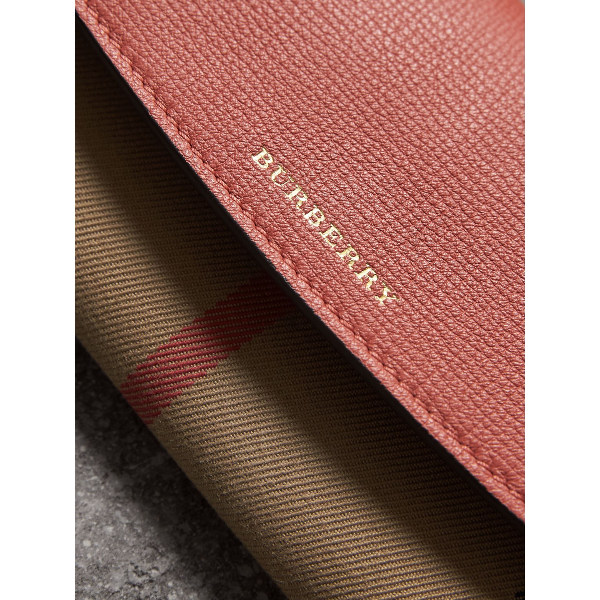 House Check And Leather Continental Wallet in Cinnamon Red - Women | Burberry - gallery image 1