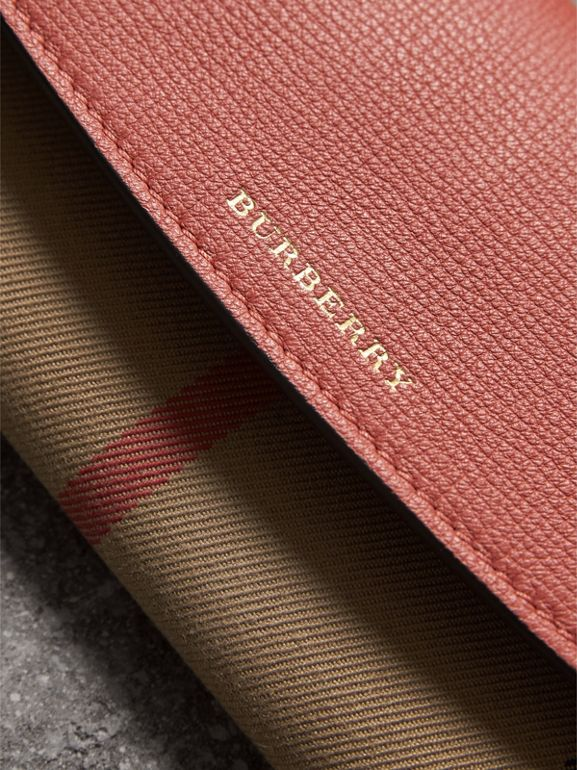 House Check And Leather Continental Wallet in Cinnamon Red - Women | Burberry - cell image 1