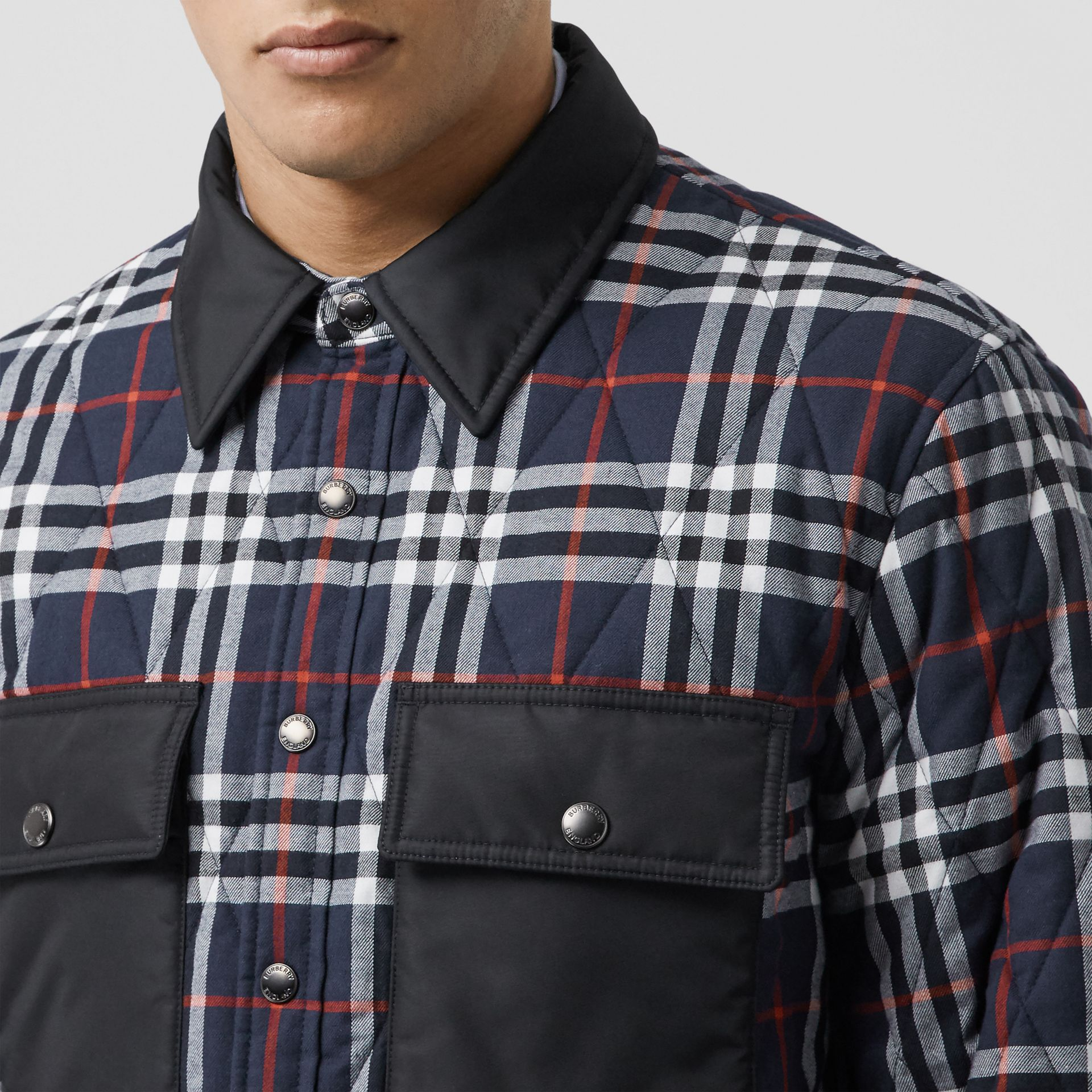 Quilted Check Cotton Flannel Overshirt in Navy - Men | Burberry - gallery image 1