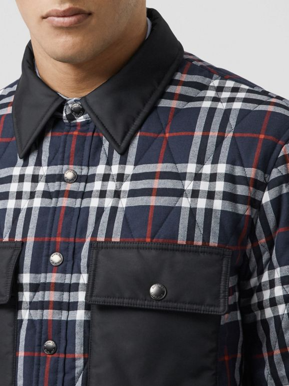 Quilted Check Cotton Flannel Overshirt in Navy - Men | Burberry - cell image 1