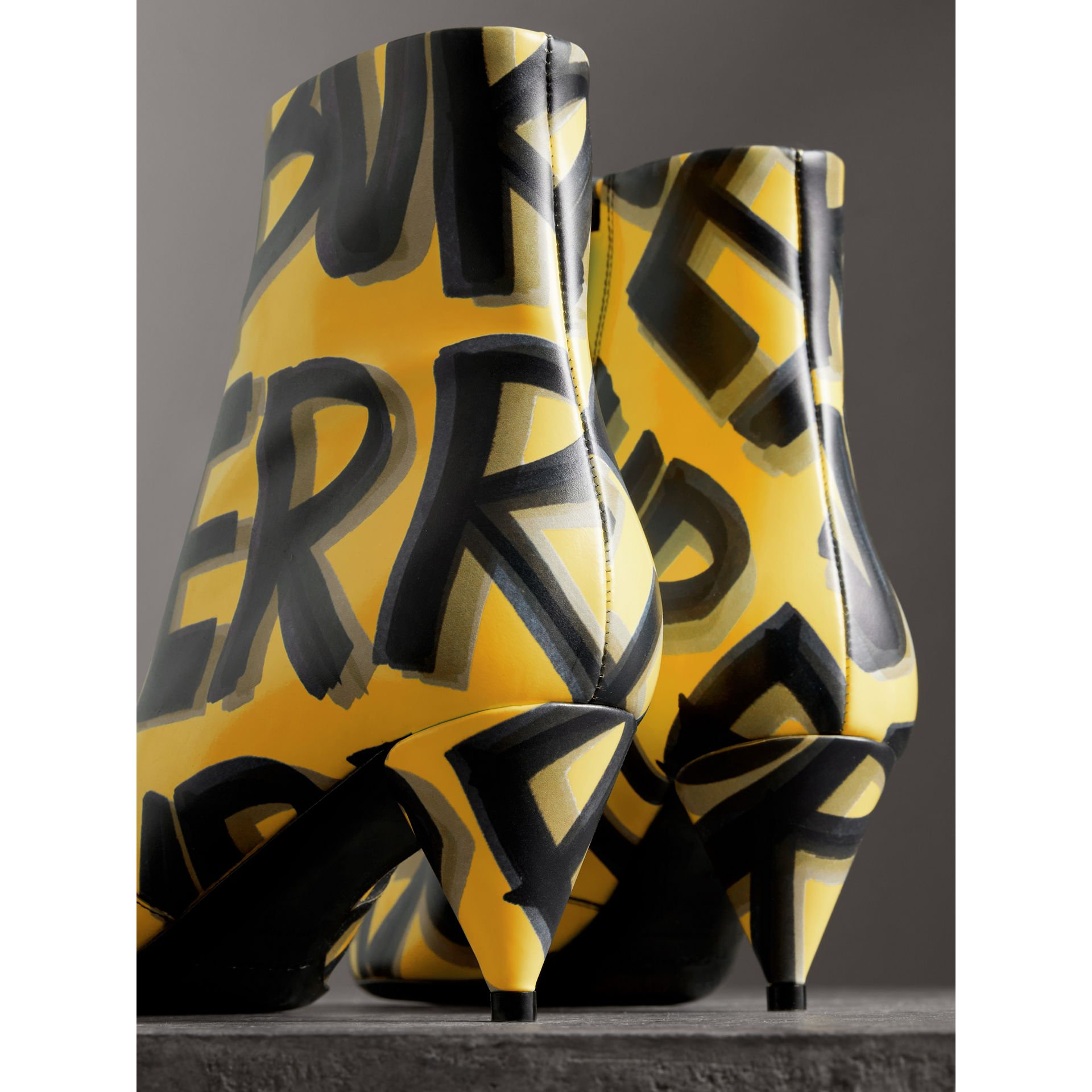 Graffiti Print Leather Ankle Boots in Vibrant Yellow - Women | Burberry Singapore - gallery image 3