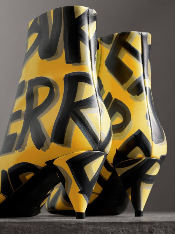 Graffiti Print Leather Ankle Boots in Vibrant Yellow - Women | Burberry - cell image 3