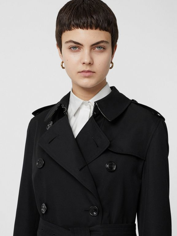 Kensington Fit Cotton Gabardine Trench Coat in Black - Women | Burberry Australia - cell image 1