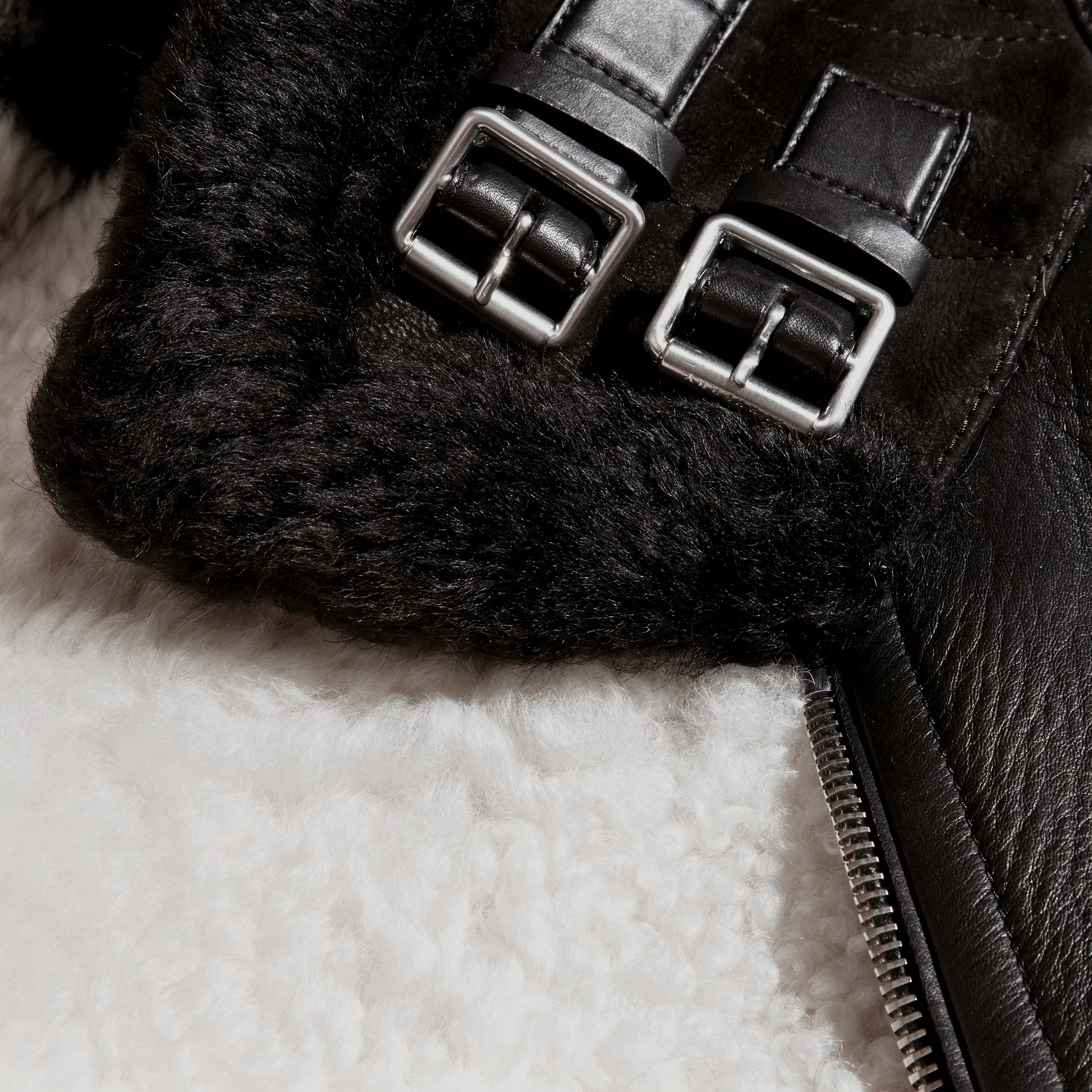 Black Lambskin and Shearling Aviator Jacket - gallery image 2