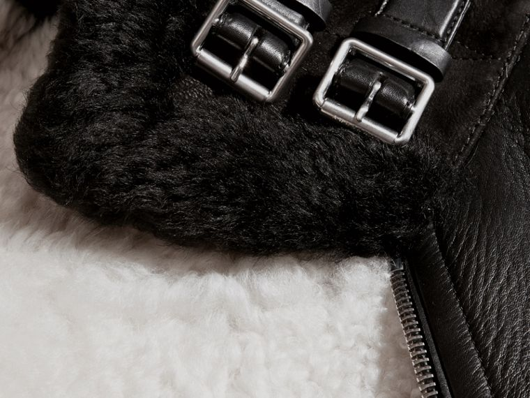 Black Lambskin and Shearling Aviator Jacket - cell image 1