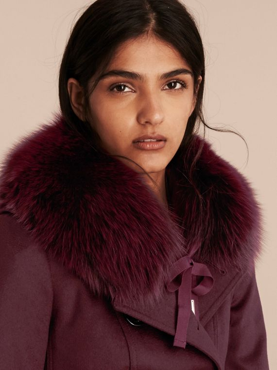 Plum Fox Fur Collar with Check Cashmere Lining Plum - cell image 2