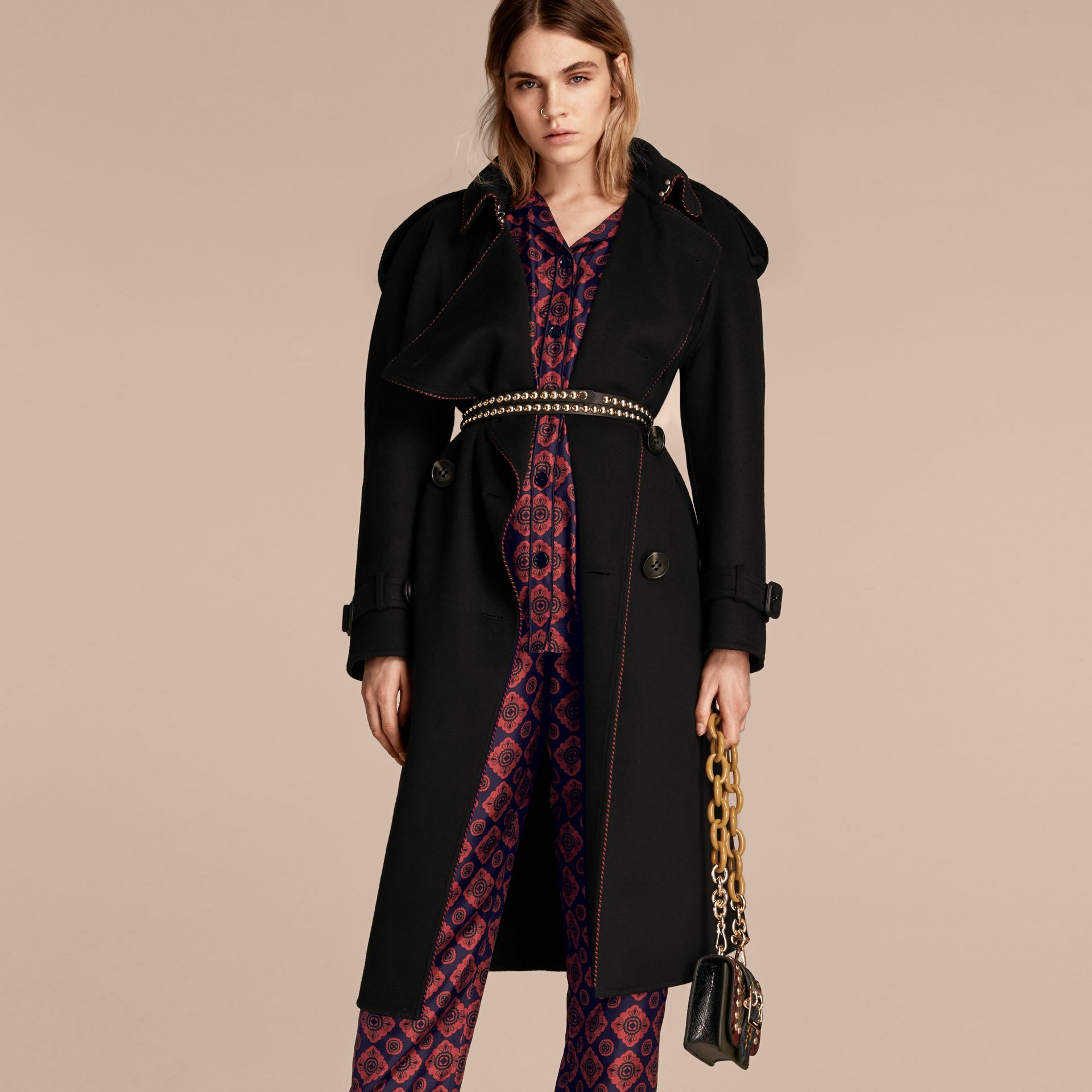 Deconstructed Cashmere Wool Trench Coat with Piping - gallery image 7