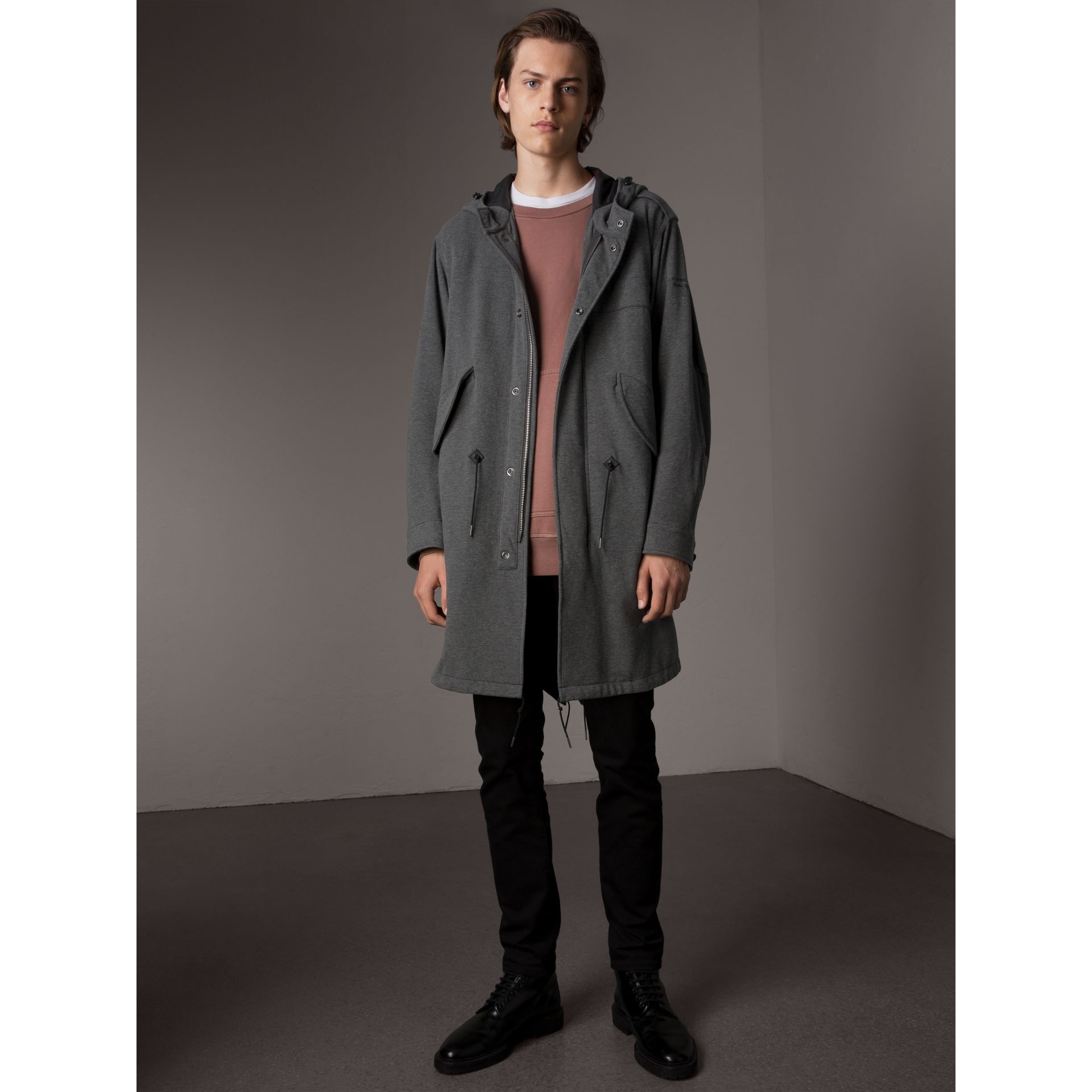 Lightweight Jersey Parka in Dark Grey Melange - Men | Burberry - gallery image 1